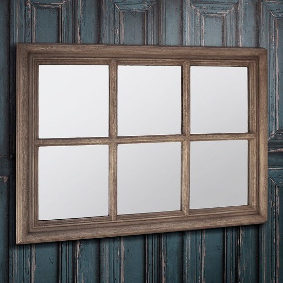 Read more about Winster wall mirror rectangular in weathered with window design