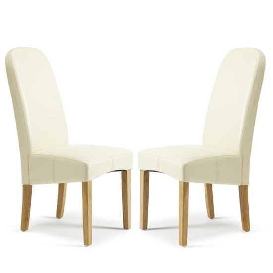 Jennifer Dining Chair In Cream Faux Leather in A Pair
