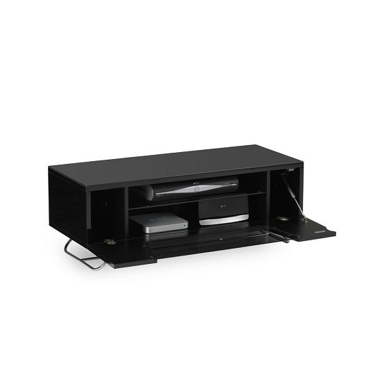 Romi LCD TV Stand In Black With Chrome Base_5