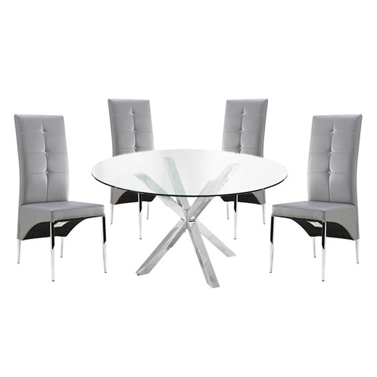 Product photograph showing Crossley Round Glass Dining Table With 4 Vesta Grey Chairs