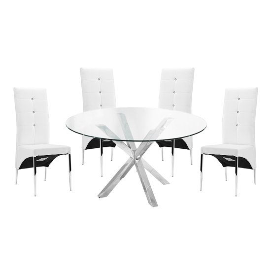 Crossley Round Glass Dining Table With 4 Vesta White Chairs