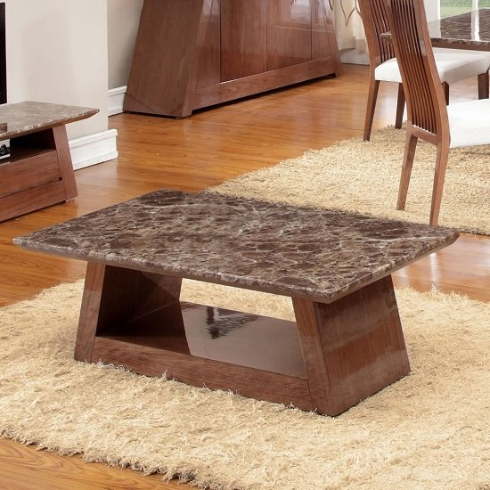 Marble Effect Coffee Tables - Walnut and marble coffee table