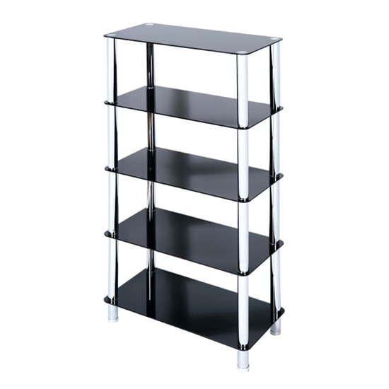 Crystal 5 Tier Black Glass Display Stand