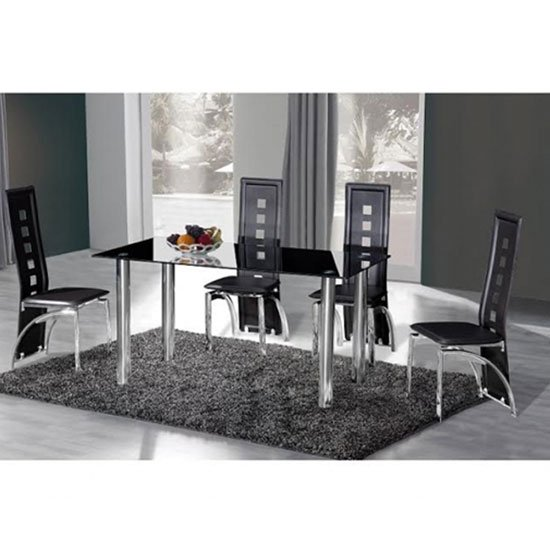 Crystal Glass Dining Set With 6 Miller Black Design Chairs