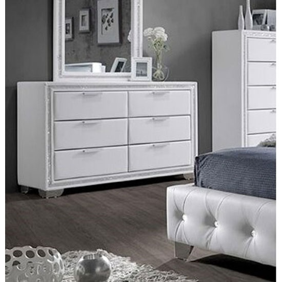 Christie dressing table in white pu with diamante design for White dressing table for sale