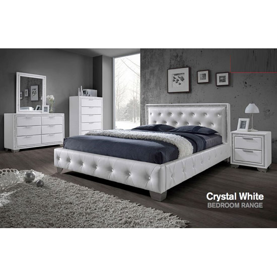 Christie Bedroom Furniture Sets in White With Diamante Design