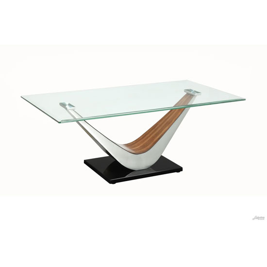 Cobra Coffee Table In Clear Glass Top With V Shape Walnut Base