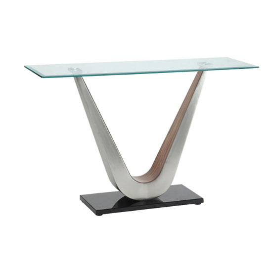 Cobra Console Table In Clear Glass Top With V Shape Walnut Base