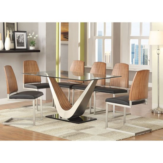 Cobra clear glass top dining table in walnut base and 6 for Glass top dining table sets
