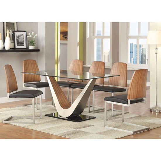 Cobra Clear Glass Top Dining Table In Walnut Base And 6