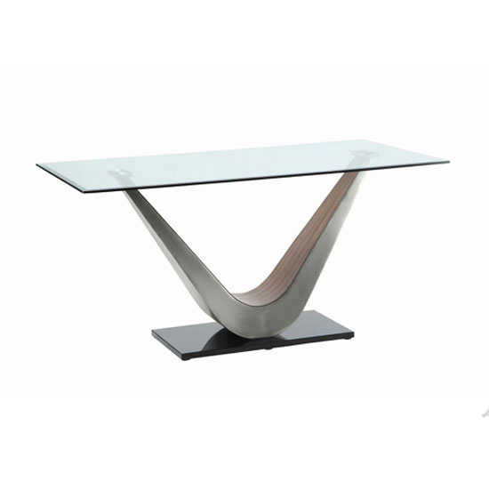 Cobra Dining Table In Clear Glass Top With V Shape Walnut Base