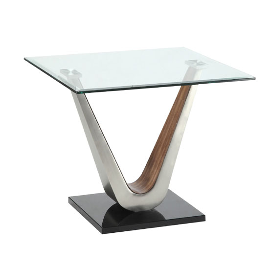 Cobra Lamp Table In Clear Glass Top With V Shape Walnut Base
