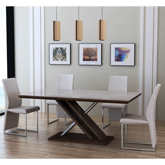 Cubic Dining Table In Beige Glass Top With 6 Crystal