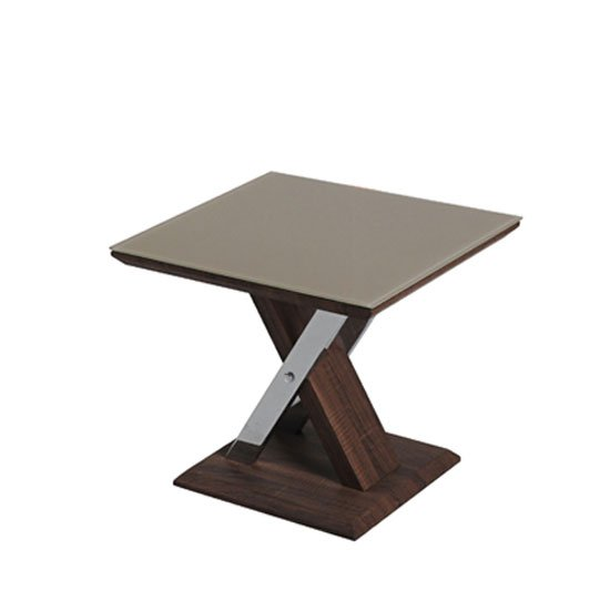 Cubic End Table In Beige Glass Top With Walnut Base