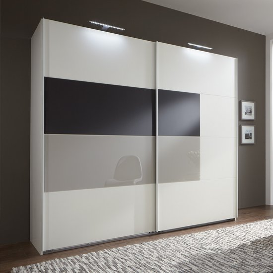 Cairo Sliding Wardrobe Alpine Wood With Sahara Grey Glass