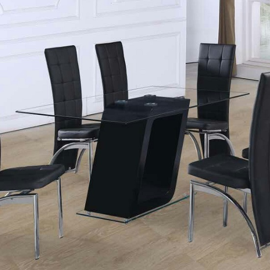 Pisa Glass Dining Table In Clear With Black Gloss Pedestal