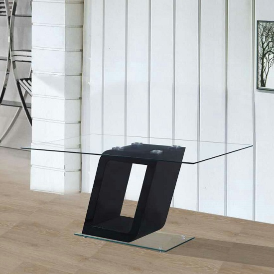 Pisa Glass Coffee Table In Clear With Black Gloss Pedestal