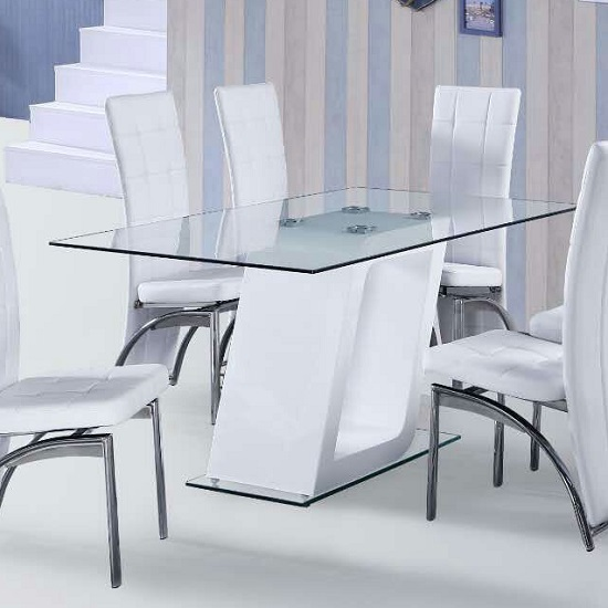 Pisa Glass Dining Table In Clear With White Gloss Pedestal