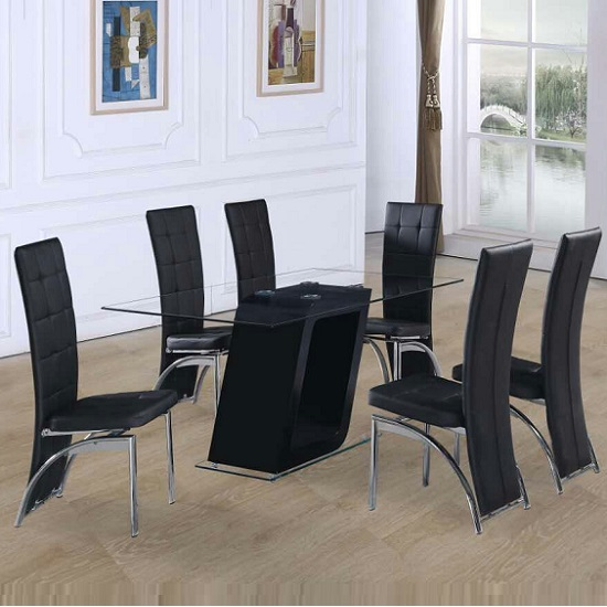Pisa Glass Dining Table In Black Gloss And 6 Ravenna Black Chair