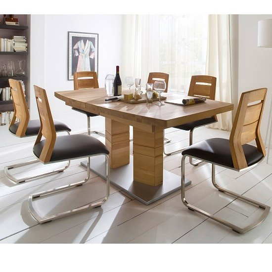 Cuneo Extendable Dining Table Boat Shaped In Core Beech 6 Chairs