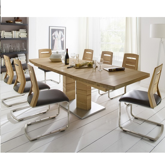 Cuneo Extendable Dining Table Rectangular In Core Beech 8 Chairs