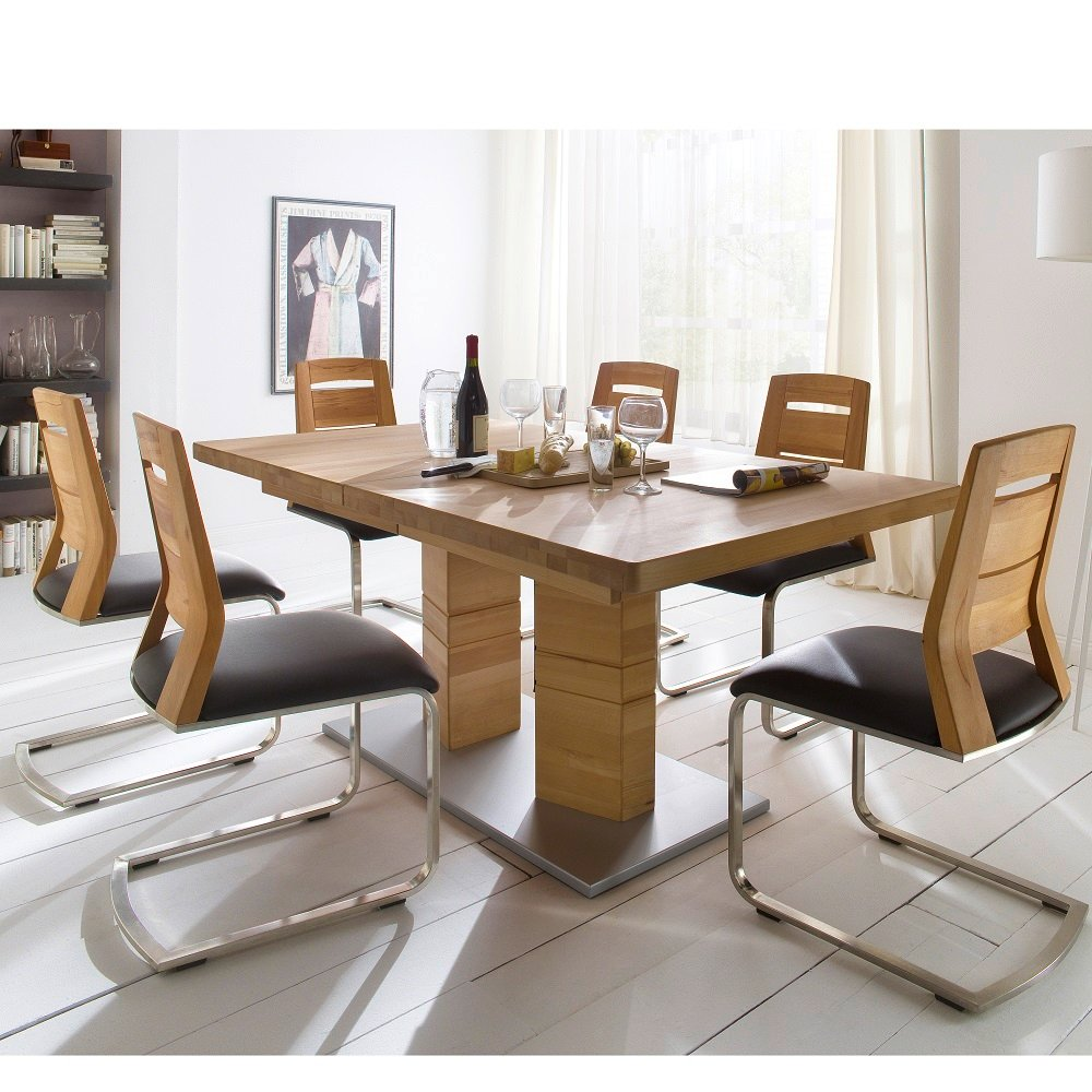 Cuneo Extendable Dining Table Rectangular In Core Beech 6 Chairs