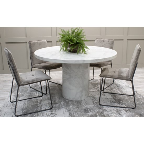 Cupric Marble Dining Table Round In Bone White Gloss Finish_2