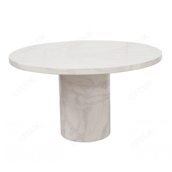 Cupric Marble Dining Table Round In Bone White Gloss Finish_1