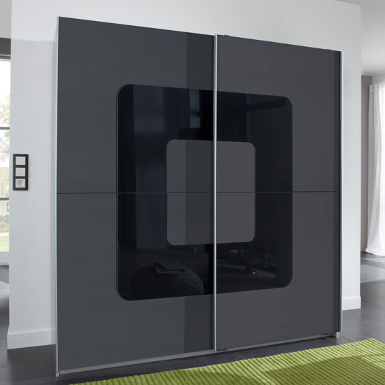 Cubi Sliding Wardrobe In Anthracite Front And Black Glass Insert