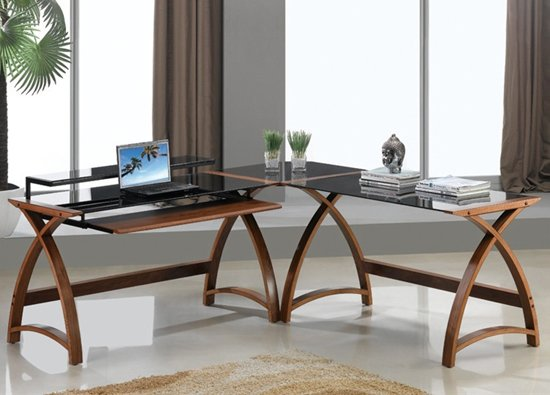 Modular Curve Corner Computer Desk In Walnut 8732 Furniture