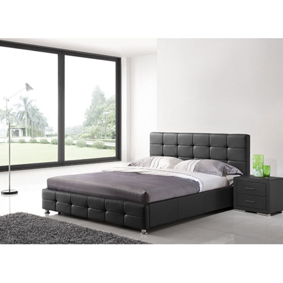 Martini Double Bed In Black Faux Leather With Aluminium Legs