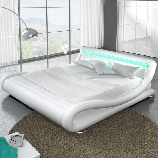 Modern Designer King Size Bed In White PU With Multi LED