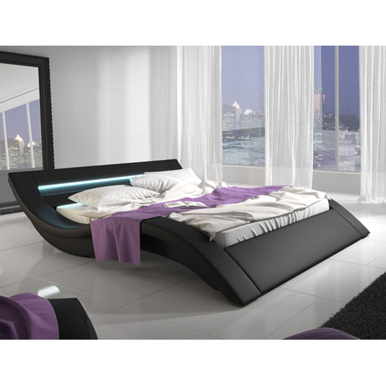 Sienna Designer King Size Bed In Black PU With Multi LED_1