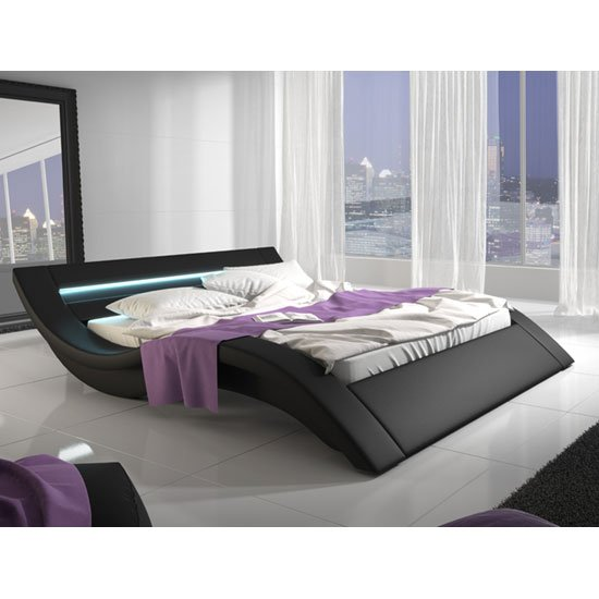Sienna Designer King Size Bed In Black PU With Multi LED