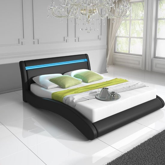 Contemporary King Size Bed In Black PU With Multi Led Light
