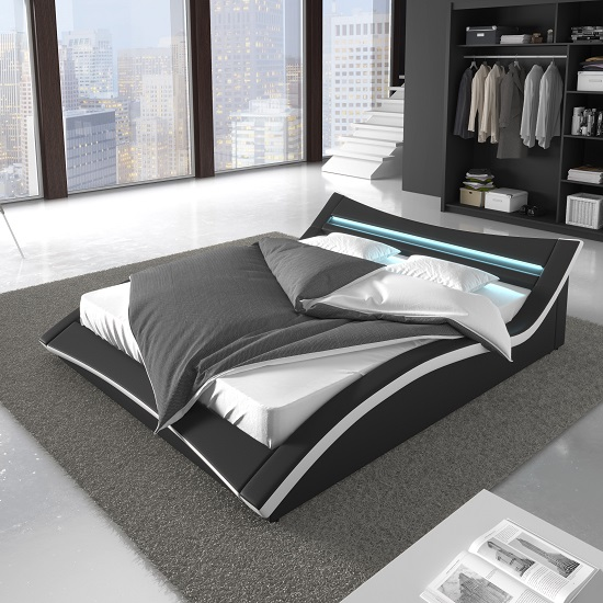 Stafford King Size Bed In Black Faux Leather With LED Lighting