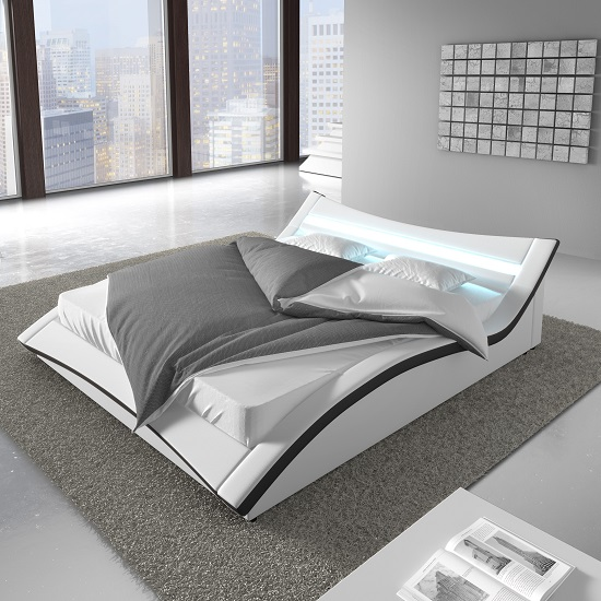 Stafford King Size Bed In White Faux Leather With LED Lighting_2