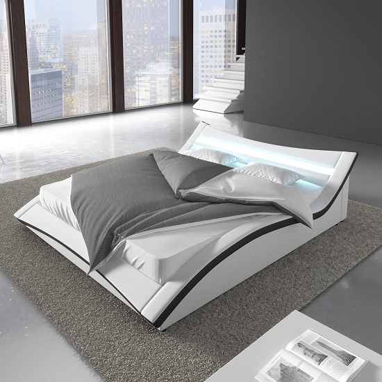 Stafford King Size Bed In White Faux Leather With LED Lighting_3