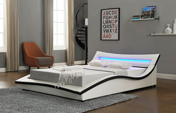 Stafford King Size Bed In White Faux Leather With LED Lighting_5