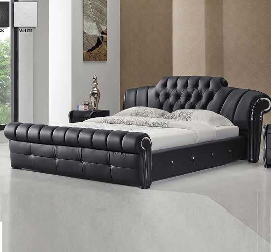 Veronica Chesterfield Style King Bed In Black Bonded