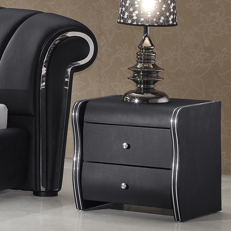 Veronica 2 drawer black faux leather bedside cabinet for Furniture in fashion
