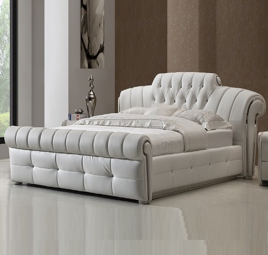 Veronica chesterfield king bed in white bonded leather Bedroom furniture chesterfield