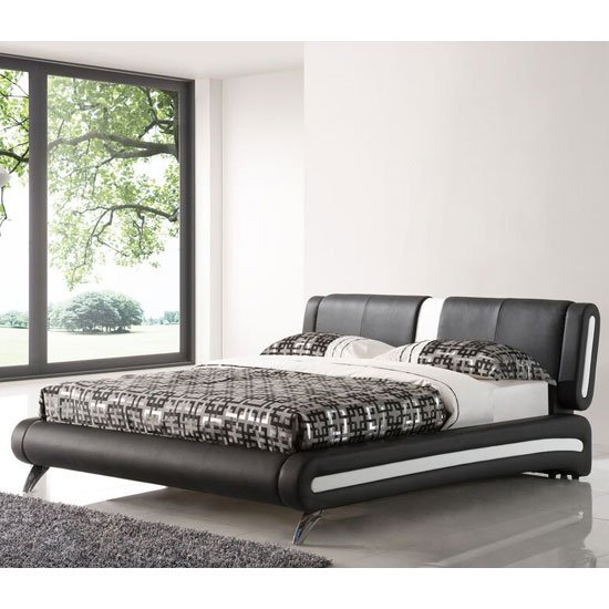 Malmo King Size Bed In Black Faux Leather With Chrome Legs
