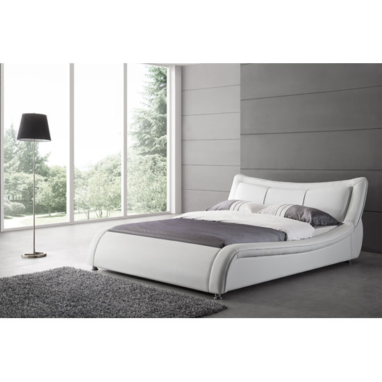 Zanbury King Size Bed In White Faux Leather With Aluminium L