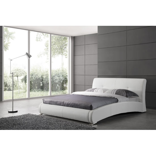 Caprivi King Size Bed In White Faux Leather With Aluminium Legs