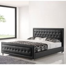 Harry King Size Bed In Black Faux Leather With Chrome Legs
