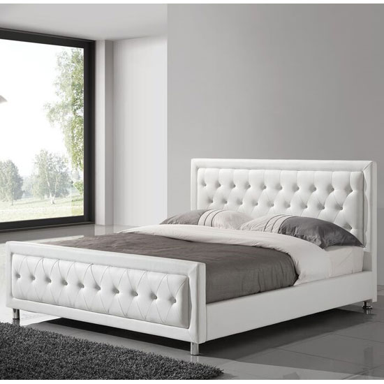 Harry king size bed in white faux leather with chrome legs - White king size bedroom furniture ...