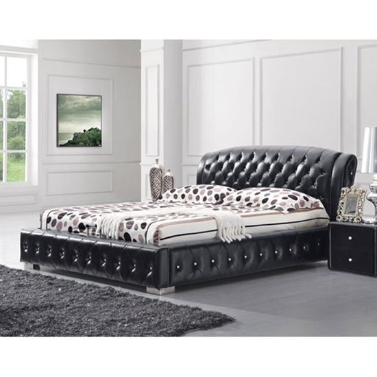 Ethan King Size Bed In Black Faux Leather With Rhinestones
