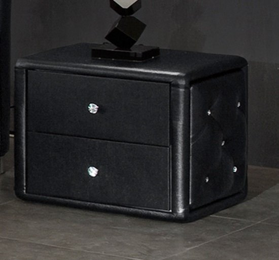 Verona Contemporary 2 Drawer Black Faux Leather Bedside Cabinet
