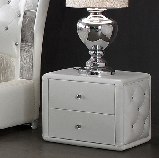 Verona Contemporary 2 Drawer White Faux Leather Bedside